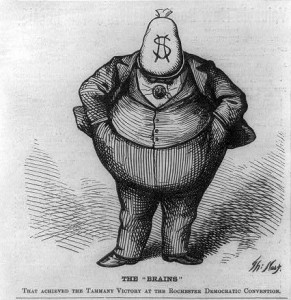 Boss Tweed with money bag for a head to show his greed
