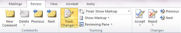 Track ChangesToolbar